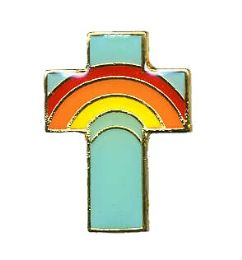 96 Bulk Brass Hat Pin, Rainbow Cross,
