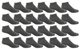 24 Bulk Bulk Pack Men's Cotton Light Weight Breathable No Show Loafer Socks, Solid Gray Size 10-13