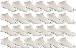 24 Bulk Bulk Pack Men's Cotton Light Weight Breathable No Show Loafer Socks, White Size 10-13