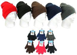 240 Bulk Children's Cuffed Knit Hats And Magic Gloves Combo Packs