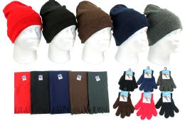 180 Bulk Children's Cuffed Knit Hats, Magic Gloves, And Solid Scarves