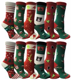 120 Bulk Christmas Printed Socks, Fun Colorful Festive, Crew, Sock Size 9-11