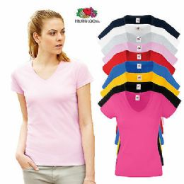 72 Bulk Fruit Of The Loom Womens Assorted Color V Neck T Shirts, Size xl