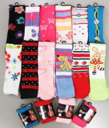 48 Bulk Girls Acrylic Tights With Print Size Small