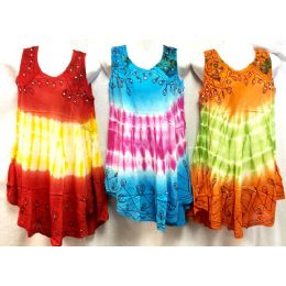 12 Bulk Girls Rayon Tie Dye Dress With Sequins