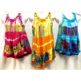 12 Bulk Girls Rayon Tie Dye Dress With Sequins Size Large