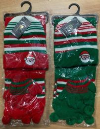 36 Bulk Kids 3 Piece Christmas Santa Themed Winter Set , Hat Glove Scarf Ages 5-10