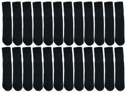 24 Bulk Yacht & Smith Kids Black Solid Tube Socks Size 4-6 Bulk Pack