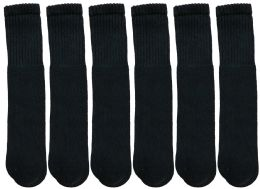 12 Bulk Kids Size Black Solid Tube Socks Size 6-8