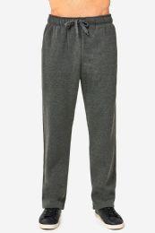 12 Bulk Knocker Mens Slim Fit Fleece Heavy Weight Sweat Pants Charcoal Grey In Size Medium