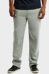 12 Bulk Knocker Mens Slim Fit Fleece Hevy Weight Sweat Pants Heather Grey In Size Large