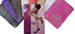 48 Bulk Ladies' Nylon Fishnet Pantyhose One Size In Purple