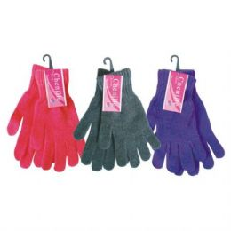 48 Bulk Ladies Chenille Winter Glove Assorted Colors One Size Fits All