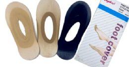 96 Bulk Ladies' Foot Cover Sock Nylon One Size In Black