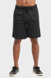 12 Bulk Libero Mens Fleece Shorts In Black Size Medium