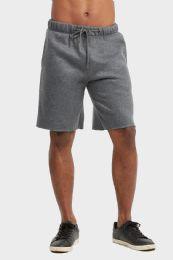 12 Bulk Libero Mens Fleece Shorts In Charcoal Grey Size Large