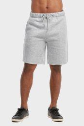 12 Bulk Libero Mens Fleece Shorts In Heather Grey Size Large