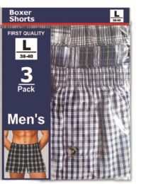 144 Bulk Men's 3 Pack Boxer Shorts Size Xlarge