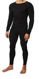 36 Bulk Men's Black Thermal Cotton Underwear Top And Bottom Set, Size Large