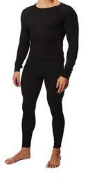 36 Bulk Men's Black Thermal Cotton Underwear Top And Bottom Set, Size XL