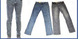 24 Bulk Men's Fashion Jeans In Faded Blue