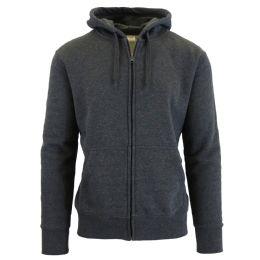 24 Bulk Men's FleecE-Lined Zip Hoodie Solid Gray Bulk Buy