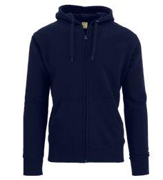 24 Bulk Men's FleecE-Lined Zip Hoodie Solid Navy Bulk Buy