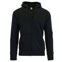24 Bulk Men's FleecE-Lined Zip Hoodie Solid Black Bulk Buy