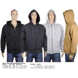 24 Bulk Men's Fleece Hoodie Light Grey, And Black In Size Medium