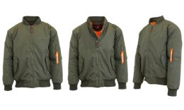 12 Bulk Men's Heavyweight MA-1 Flight Bomber Jackets Olive Size Medium
