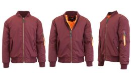 12 Bulk Men's Heavyweight MA-1 Flight Bomber Jackets Maroon Size Medium