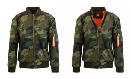 12 Bulk Men's Heavyweight MA-1 Flight Bomber Jackets Woodland Camo Size Large