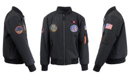 12 Bulk Men's Heavyweight MA-1 Flight Bomber Jackets Black With Patches Size Medium