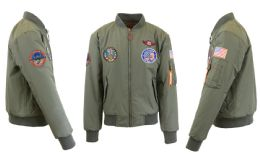 12 Bulk Men's Heavyweight MA-1 Flight Bomber Jackets Olive With Patches Size Medium