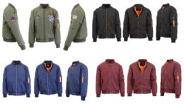 192 Bulk Men's Heavyweight MA-1 Flight Bomber Jackets Pallet Deal Mix Sizes Colors
