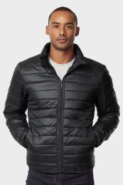 12 Bulk Men's Puff Jacket In Black Size Large