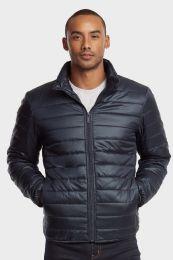 12 Bulk Men's Puff Jacket In Navy Size Large