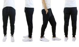 24 Bulk Men's Slim Fit Fleece Jogger Sweatpants With Zipper Pockets, Solid Black