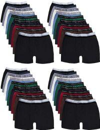 36 Bulk Mens 100% Cotton Boxer Briefs Underwear, Assorted Colors Large