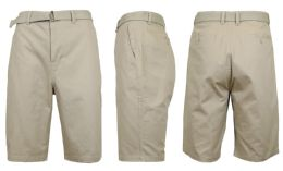 24 Bulk Mens Belted Cotton Chino Shorts Size 34 Solid Khaki