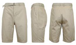 24 Bulk Mens Belted Cotton Chino Shorts Size 36 Solid Khaki