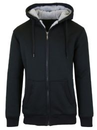 12 Bulk Mens Black Fleece Line Sherpa Hoodies Black Size Medium