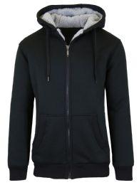 12 Bulk Mens Black Fleece Line Sherpa Hoodies Black Size XL
