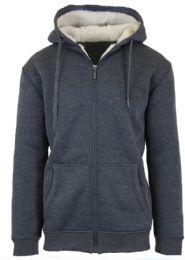 12 Bulk Mens Charcoal Fleece Line Sherpa Hoodies Size XL