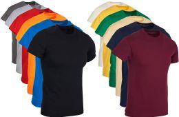 12 Bulk Mens Cotton Crew Neck Short Sleeve T-Shirts Mix Colors Bulk Pack Size 2X Large