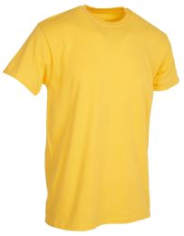 36 Bulk Mens Cotton Short Sleeve T Shirts Solid Yellow 4XL