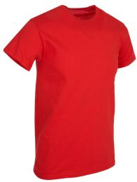 36 Bulk Mens Cotton Short Sleeve T Shirts Solid Red Size XXL