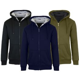12 Bulk Mens Fleece Line Sherpa Hoodies Assorted Colors And Sizes