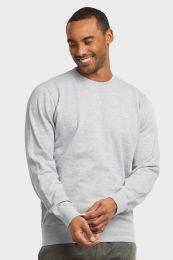 12 Bulk Mens Light Weight Fleece Sweatshirts In Heather Grey Size Medium
