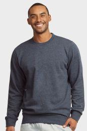 12 Bulk Mens Light Weight Fleece Sweatshirts In Denim Size Large